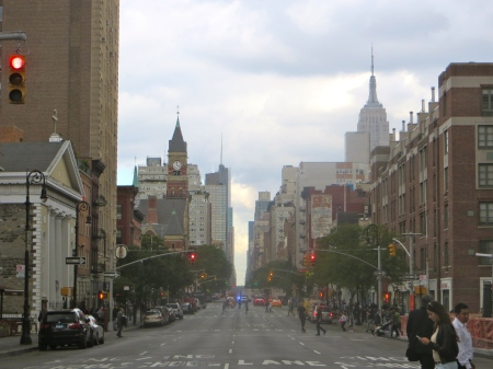 Looking north from W. 4th Street, as I cross Sixth Avenue.